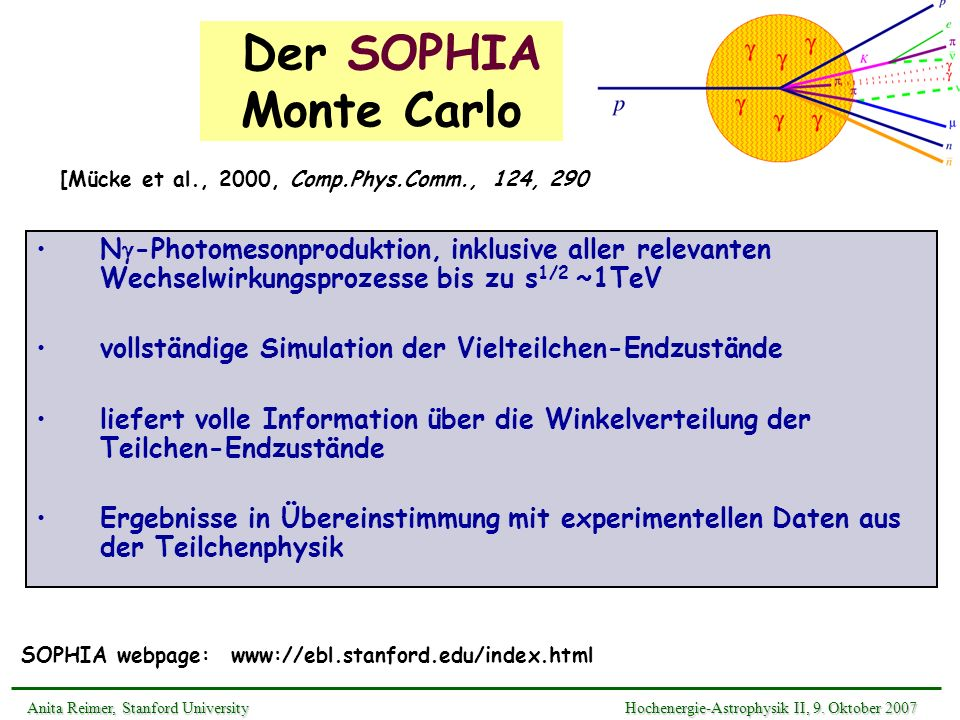 Der SOPHIA Monte Carlo[Mücke et al., 2000, Comp.Phys.Comm., 124, 290.